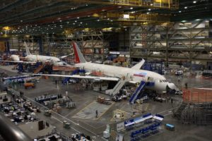 Boeing 787 Dreamliner assembly line, Boeing Tour, Everett, Wash.