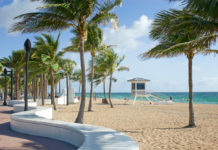 The iconic Wave Wall along Fort Lauderdale beach hugs the sand and provides a resting place for visitors. Greater Fort Lauderdale
