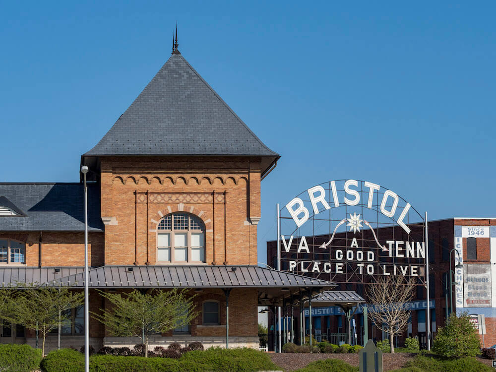 Bristol sign in Historic Downtown Bristol