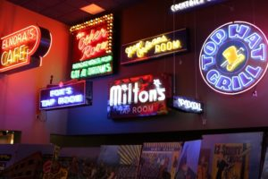 Neon signs, American Jazz Museum, Kansas City, Mo.