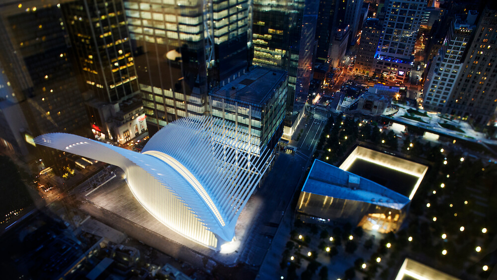 Oculus in Lower Manhattan at night
