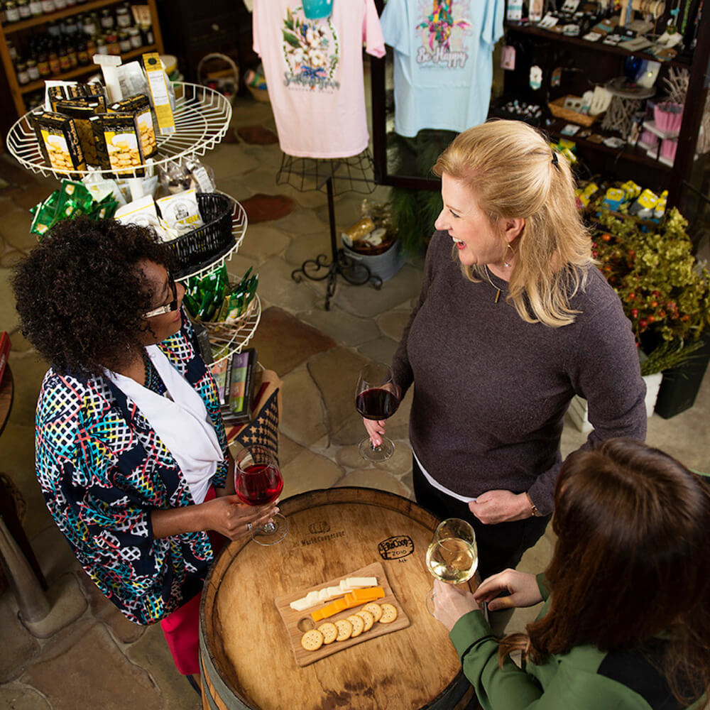 Group drinking wine at Huffman Vineyards in Onslow County, North Carolina