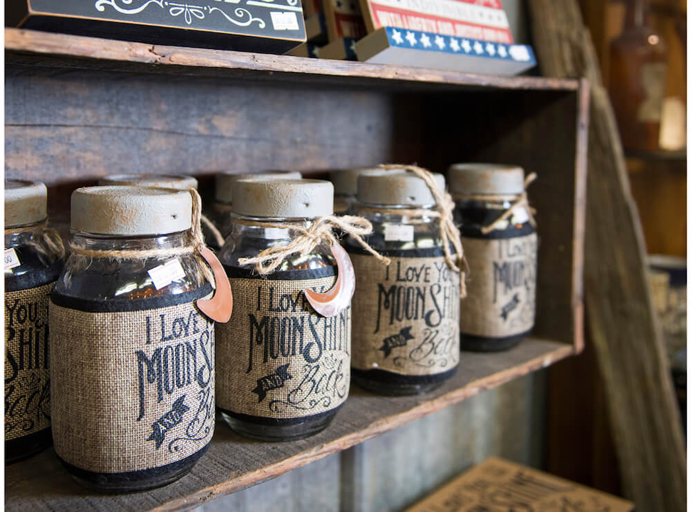 Jars of moonshine in Onslow County, North Carolina