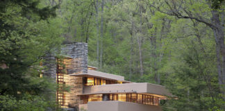 Fallingwater was designed over a waterfall. Architecture