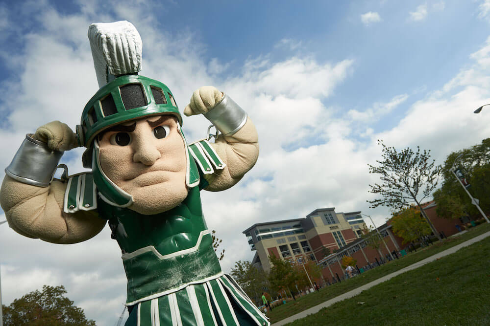 Sparty, Michigan State University mascot, East Lansing, Mich. Credit: Greater Lansing CVB