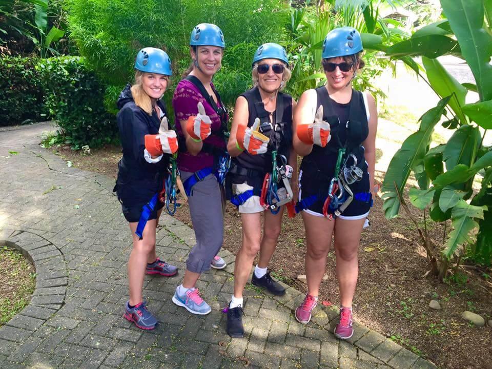 Zip line participants, Rainforest Adventures, Costa Rica pura vida