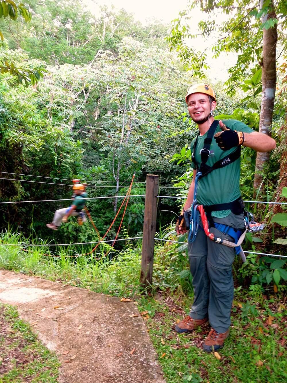 Zip line guide, Rainforest Adventures, Costa Rica
