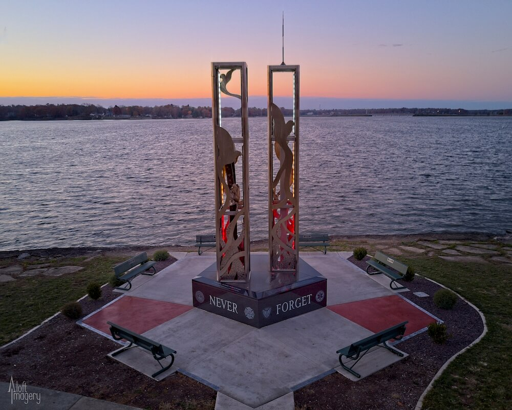 9/11 Memorial at Lake Decatur, Decatur, Ill. Credit: Aloft Imagery