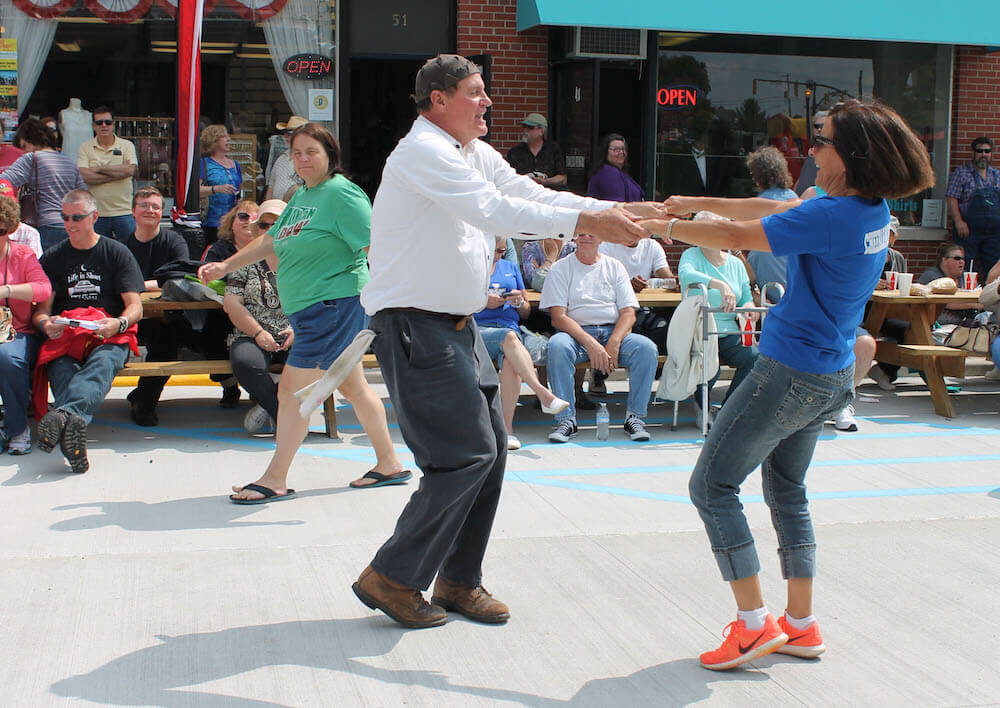 """Goober"" dancing at Mayberry in the Midwest Festival, Danville, Ind. Credit: Visit Hendricks County"