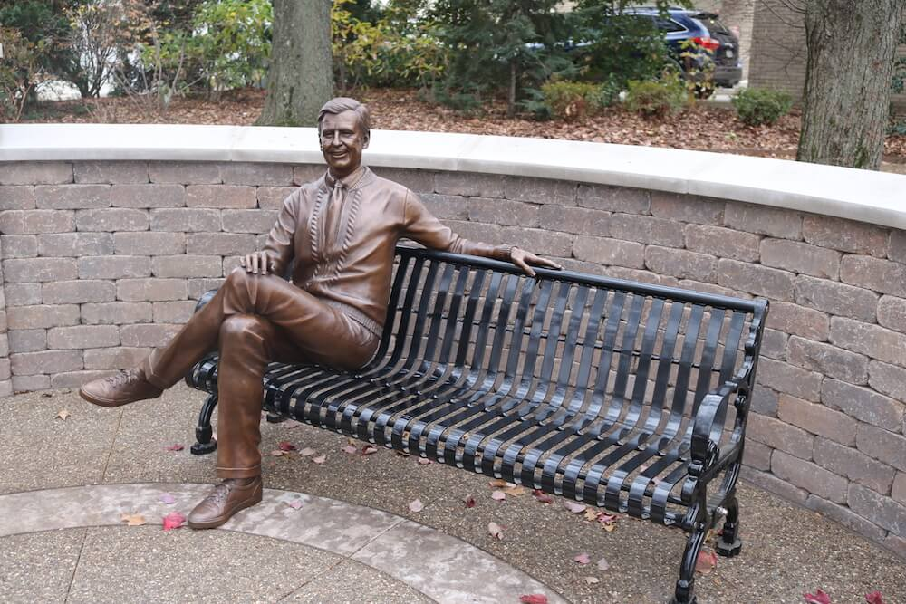 Fred Rogers Statue, James H. Rogers Park, Latrobe, Pa. Credit: Laurel Highlands Visitors Bureau
