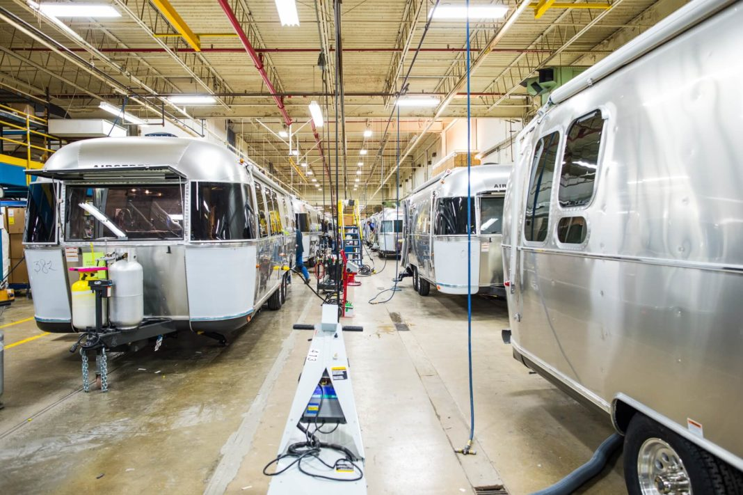 Airstream factory with trailers under construction