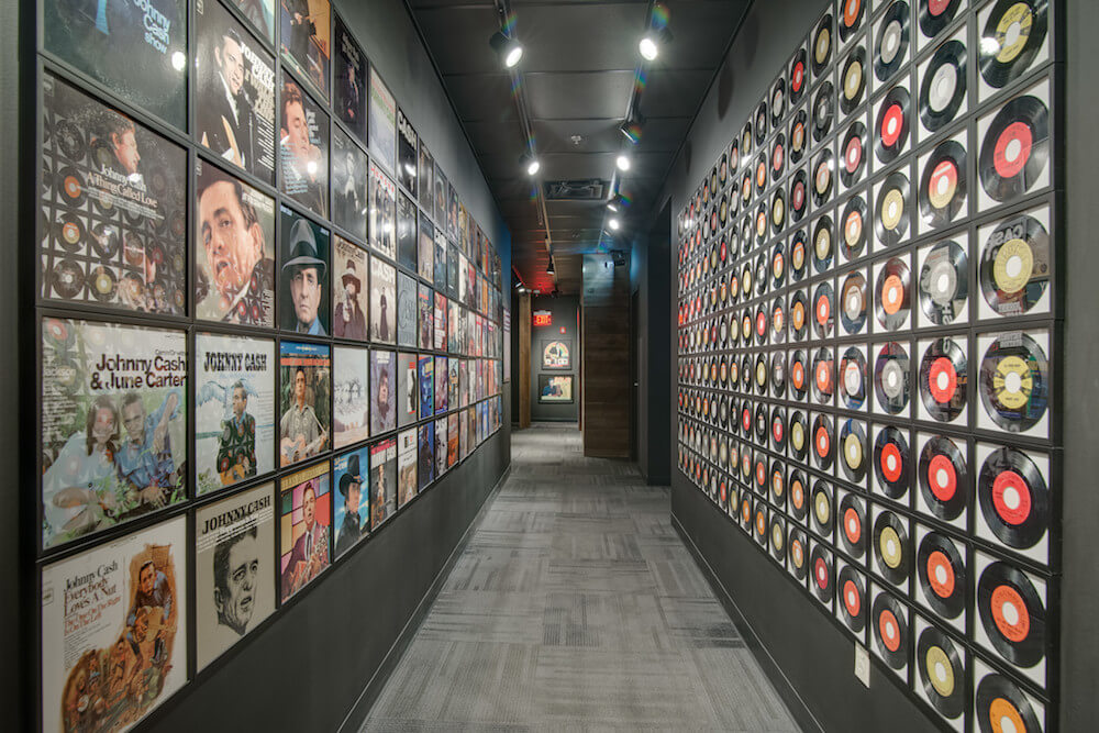 Wall of records at Johnny Cash Museum in Nashville, Tennessee