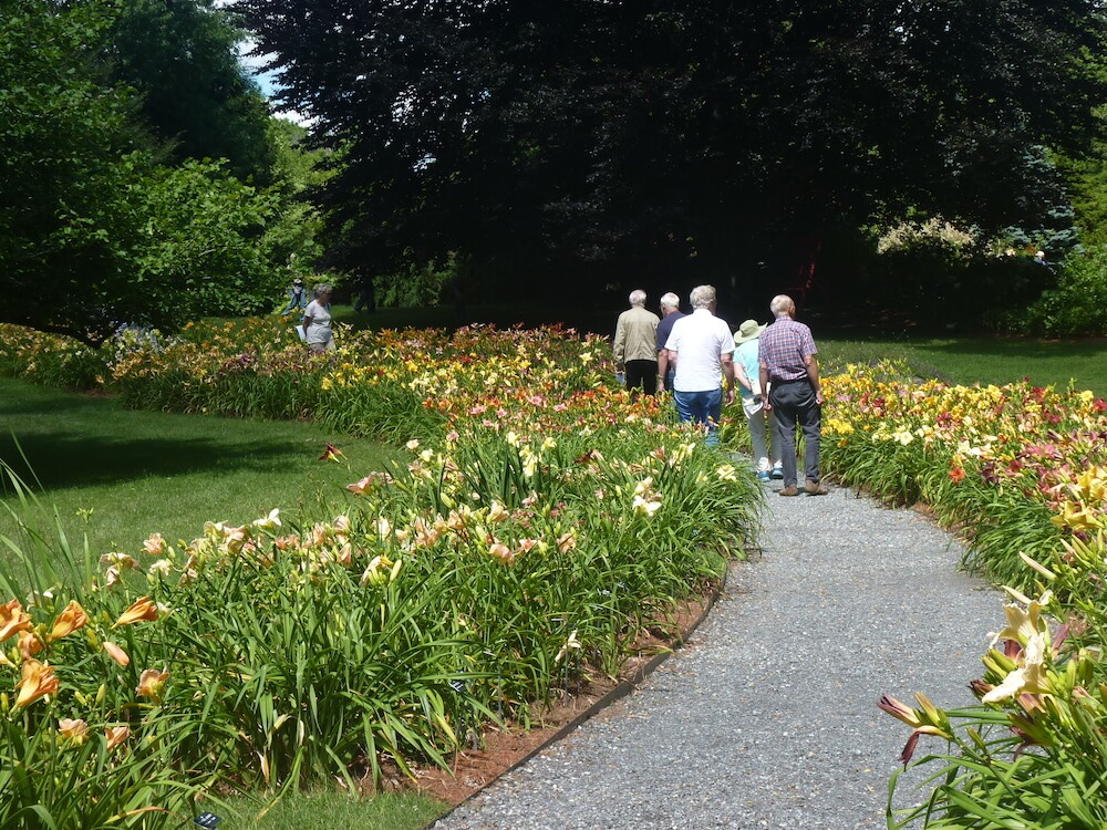 group walking in Berkshire Botanical Garden