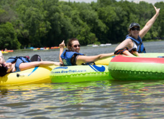 3 ladies tubing River & Trail Outfitters