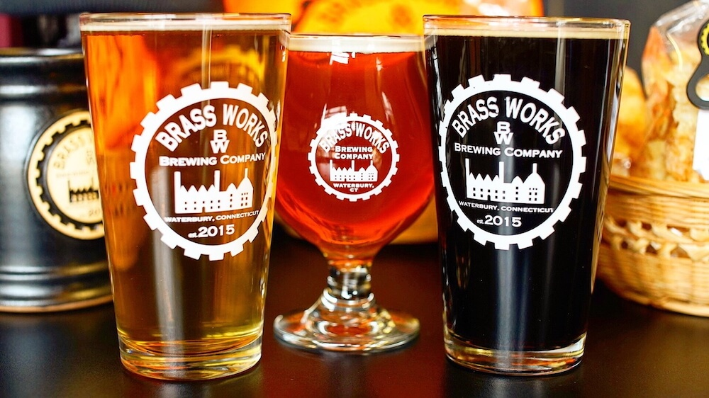 Brass Works Brewing pint glasses full of beer