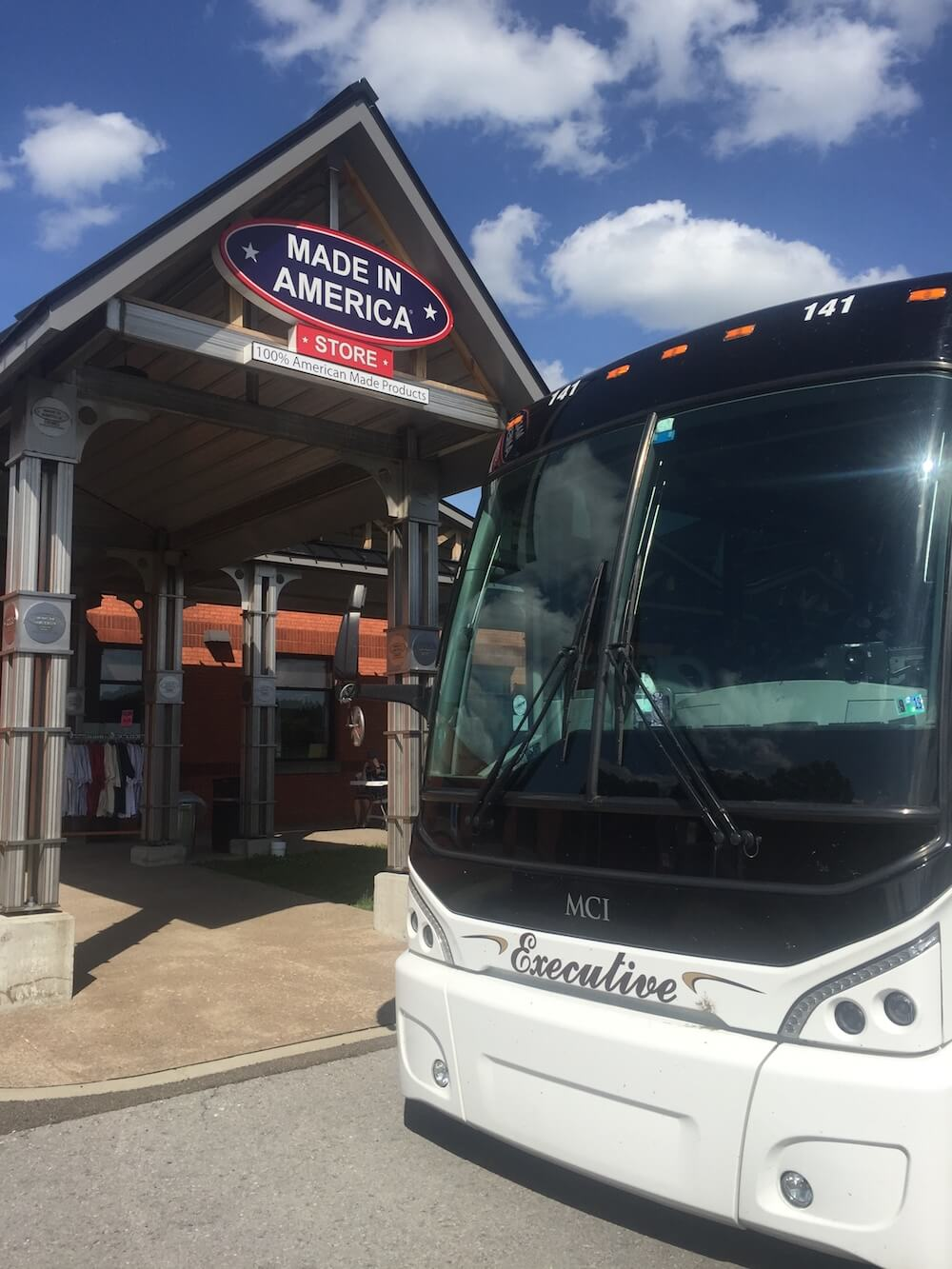 Motorcoach outside Made in America Store