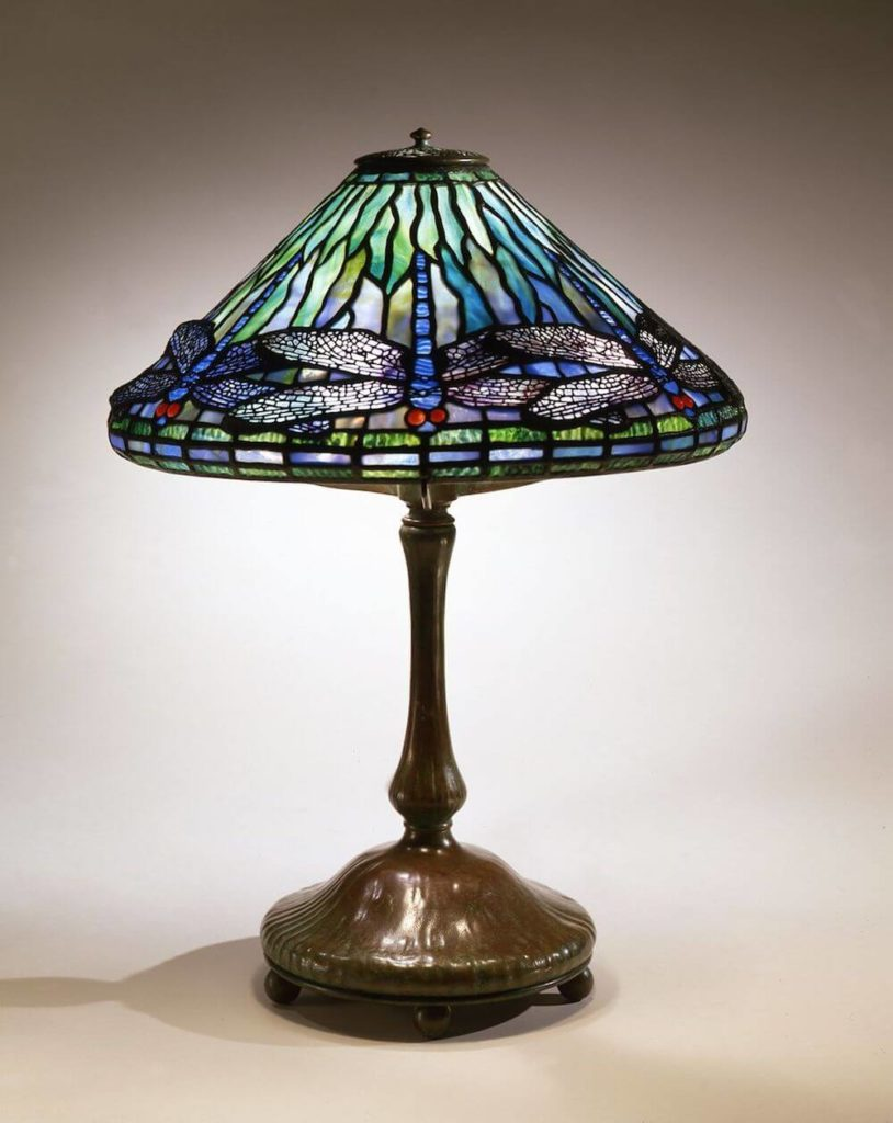 Tiffany glass shade and lamp