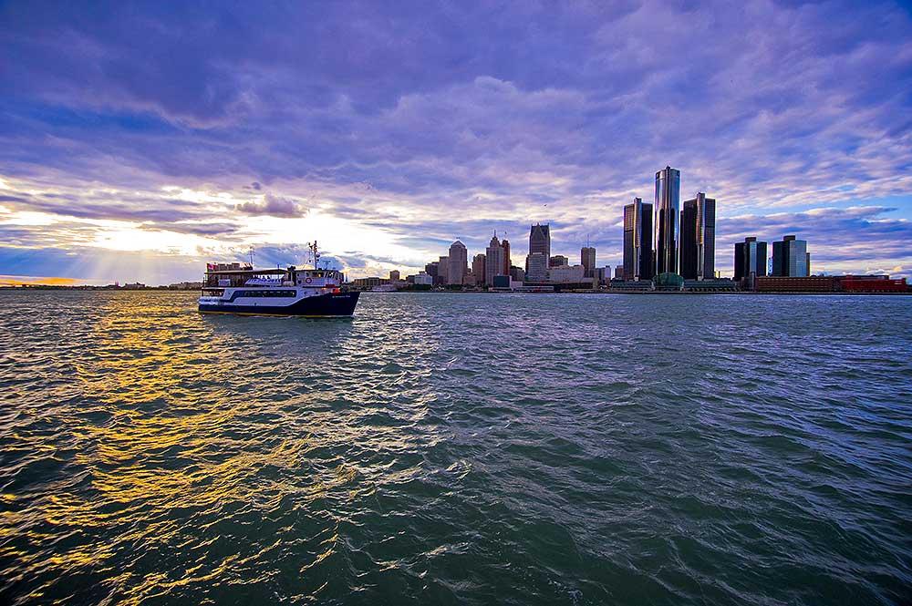 Detroit Metro CVB Tour Detroit Skyline from the Detroit River