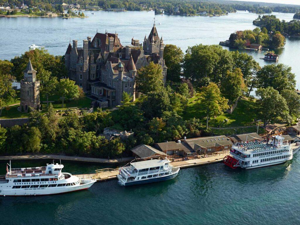 Boat Castle docks 1000 islands